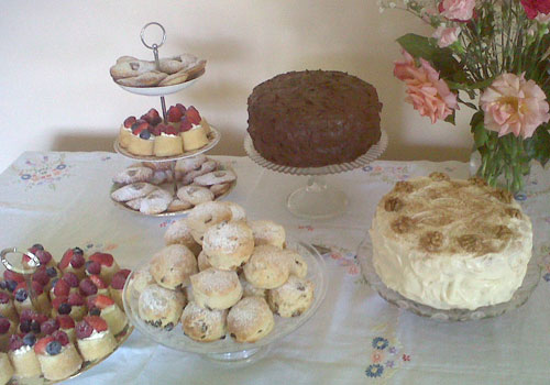 Selection of homemade cakes, pastries and scones from our tea party menu